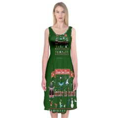 Winter Is Here Ugly Holiday Christmas Green Background Midi Sleeveless Dress