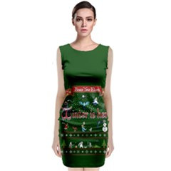 Winter Is Here Ugly Holiday Christmas Green Background Classic Sleeveless Midi Dress