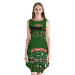 Winter Is Here Ugly Holiday Christmas Green Background Sleeveless Chiffon Dress
