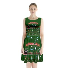Winter Is Here Ugly Holiday Christmas Green Background Sleeveless Chiffon Waist Tie Dress