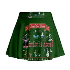 Winter Is Here Ugly Holiday Christmas Green Background Mini Flare Skirt