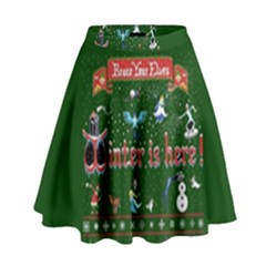 Winter Is Here Ugly Holiday Christmas Green Background High Waist Skirt