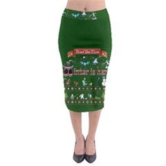 Winter Is Here Ugly Holiday Christmas Green Background Midi Pencil Skirt