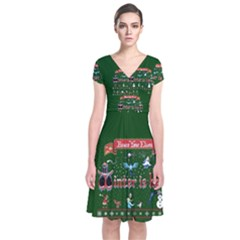 Winter Is Here Ugly Holiday Christmas Green Background Short Sleeve Front Wrap Dress