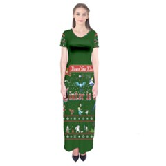Winter Is Here Ugly Holiday Christmas Green Background Short Sleeve Maxi Dress