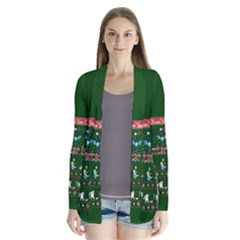 Winter Is Here Ugly Holiday Christmas Green Background Drape Collar Cardigan