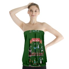 Winter Is Here Ugly Holiday Christmas Green Background Strapless Top