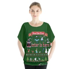 Winter Is Here Ugly Holiday Christmas Green Background Blouse