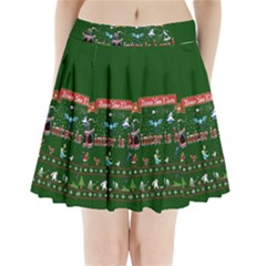 Winter Is Here Ugly Holiday Christmas Green Background Pleated Mini Skirt