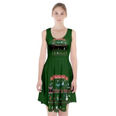 Winter Is Here Ugly Holiday Christmas Green Background Racerback Midi Dress