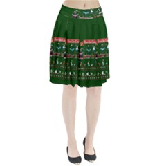Winter Is Here Ugly Holiday Christmas Green Background Pleated Skirt