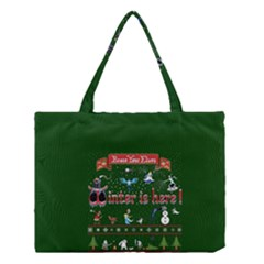 Winter Is Here Ugly Holiday Christmas Green Background Medium Tote Bag