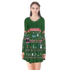 Winter Is Here Ugly Holiday Christmas Green Background Flare Dress