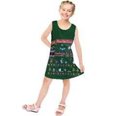 Winter Is Here Ugly Holiday Christmas Green Background Kids  Tunic Dress