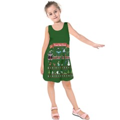 Winter Is Here Ugly Holiday Christmas Green Background Kids  Sleeveless Dress