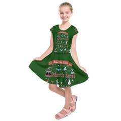 Winter Is Here Ugly Holiday Christmas Green Background Kids  Short Sleeve Dress
