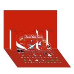 Winter Is Here Ugly Holiday Christmas Red Background I Love You 3D Greeting Card (7x5)