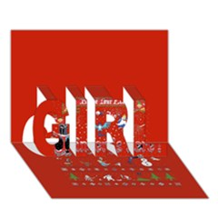 Winter Is Here Ugly Holiday Christmas Red Background Girl 3d Greeting Card (7x5)
