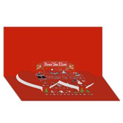 Winter Is Here Ugly Holiday Christmas Red Background Twin Heart Bottom 3D Greeting Card (8x4)