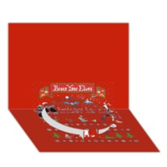 Winter Is Here Ugly Holiday Christmas Red Background Circle Bottom 3D Greeting Card (7x5)