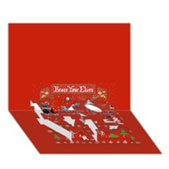 Winter Is Here Ugly Holiday Christmas Red Background Love Bottom 3d Greeting Card (7x5)