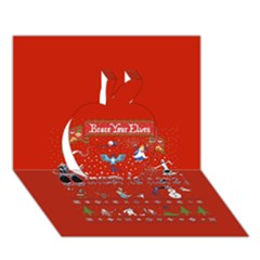 Winter Is Here Ugly Holiday Christmas Red Background Apple 3d Greeting Card (7x5)