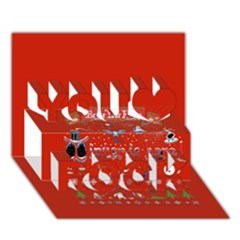 Winter Is Here Ugly Holiday Christmas Red Background You Rock 3D Greeting Card (7x5)