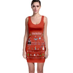 Winter Is Here Ugly Holiday Christmas Red Background Sleeveless Bodycon Dress