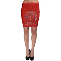 Winter Is Here Ugly Holiday Christmas Red Background Bodycon Skirt