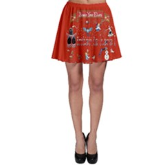 Winter Is Here Ugly Holiday Christmas Red Background Skater Skirt