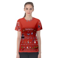 Winter Is Here Ugly Holiday Christmas Red Background Women s Sport Mesh Tee