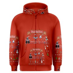 Winter Is Here Ugly Holiday Christmas Red Background Men s Zipper Hoodie