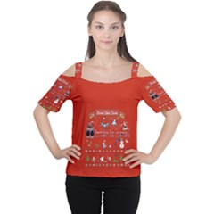Winter Is Here Ugly Holiday Christmas Red Background Women s Cutout Shoulder Tee