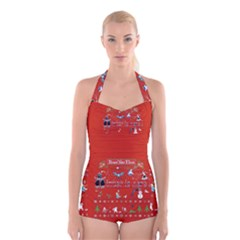 Winter Is Here Ugly Holiday Christmas Red Background Boyleg Halter Swimsuit