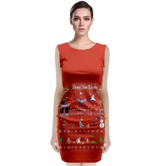 Winter Is Here Ugly Holiday Christmas Red Background Classic Sleeveless Midi Dress