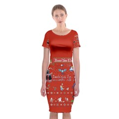 Winter Is Here Ugly Holiday Christmas Red Background Classic Short Sleeve Midi Dress