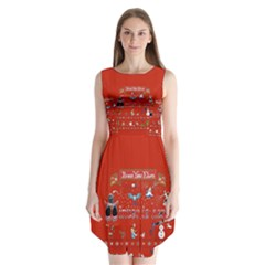 Winter Is Here Ugly Holiday Christmas Red Background Sleeveless Chiffon Dress