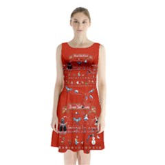 Winter Is Here Ugly Holiday Christmas Red Background Sleeveless Chiffon Waist Tie Dress
