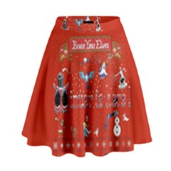 Winter Is Here Ugly Holiday Christmas Red Background High Waist Skirt