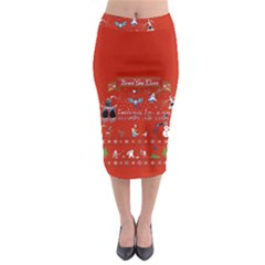 Winter Is Here Ugly Holiday Christmas Red Background Midi Pencil Skirt