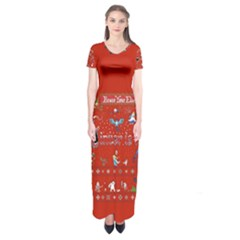 Winter Is Here Ugly Holiday Christmas Red Background Short Sleeve Maxi Dress