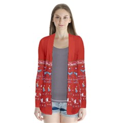 Winter Is Here Ugly Holiday Christmas Red Background Drape Collar Cardigan