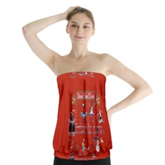 Winter Is Here Ugly Holiday Christmas Red Background Strapless Top