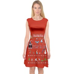 Winter Is Here Ugly Holiday Christmas Red Background Capsleeve Midi Dress