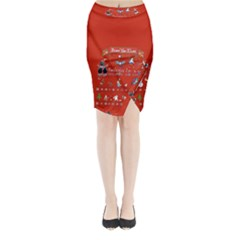 Winter Is Here Ugly Holiday Christmas Red Background Midi Wrap Pencil Skirt