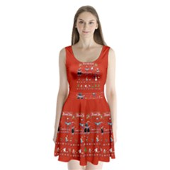 Winter Is Here Ugly Holiday Christmas Red Background Split Back Mini Dress