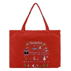 Winter Is Here Ugly Holiday Christmas Red Background Medium Tote Bag