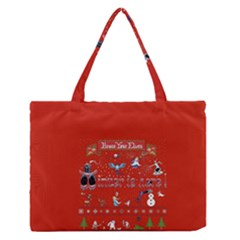 Winter Is Here Ugly Holiday Christmas Red Background Medium Zipper Tote Bag