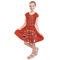 Winter Is Here Ugly Holiday Christmas Red Background Kids  Short Sleeve Dress