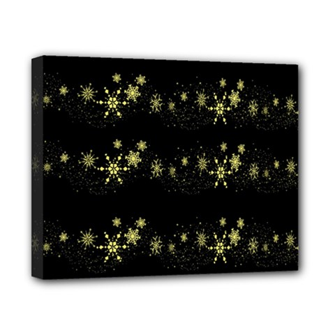 Yellow elegant Xmas snowflakes Canvas 10  x 8
